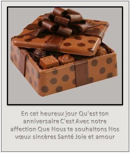 Carte chocolat d'anniversaire de mariage