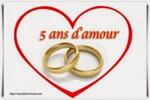 Texte de vœux anniversaire de mariage 5 ans