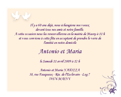 Texte d'invitation de mariage