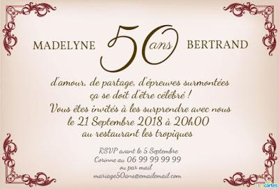 Texte d'invitation à un anniversaire de mariage 50 ans